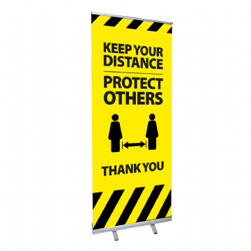 Pull Up Roller Banner 850mm - Keep Your Distance